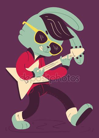 Drawn musician bunny Rockabilly Guitar Playing Vector