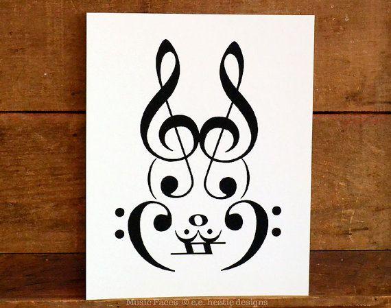 Drawn musician bunny Bass / Music poster 214
