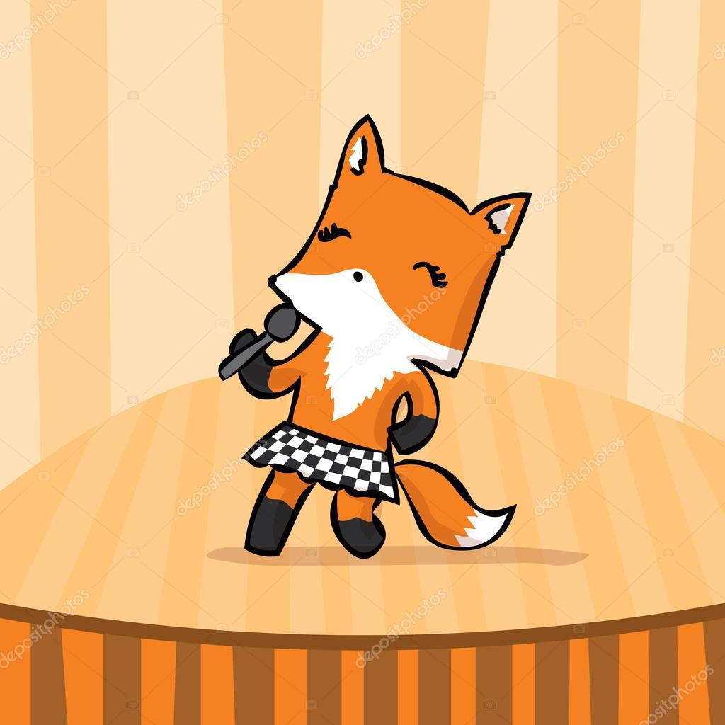 Drawn musician cute Fox Stock Cute musician #107737312