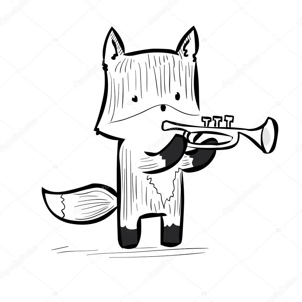 Drawn musician cute Dergriza Vector Vector Cartoon fox