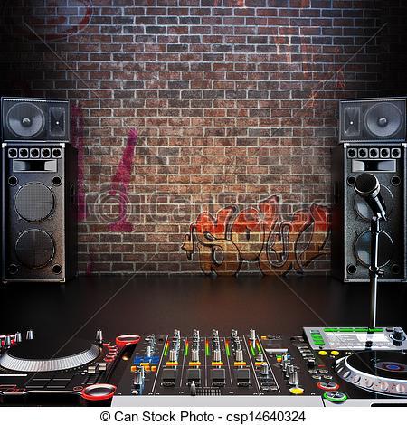 Drawn musician dj speaker Dj copy space Room Clip