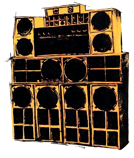 Drawn musician dj speaker Of of a stack stack