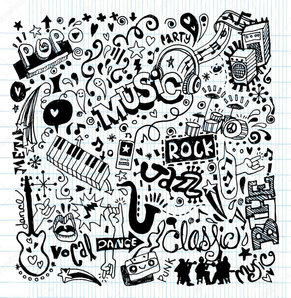 Drawn musician doodle background  Sketchbook Doodle Vector Collage