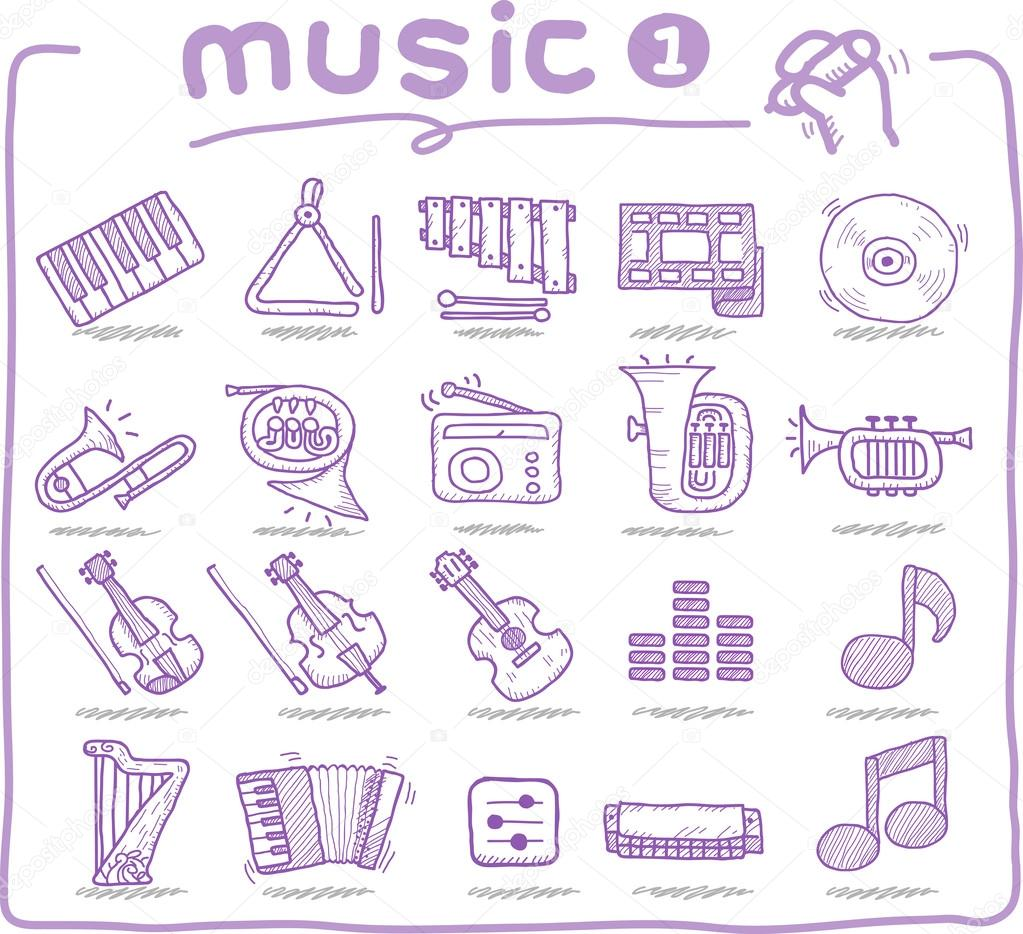 Drawn musician hand drawn © Vector — #40869175 musical