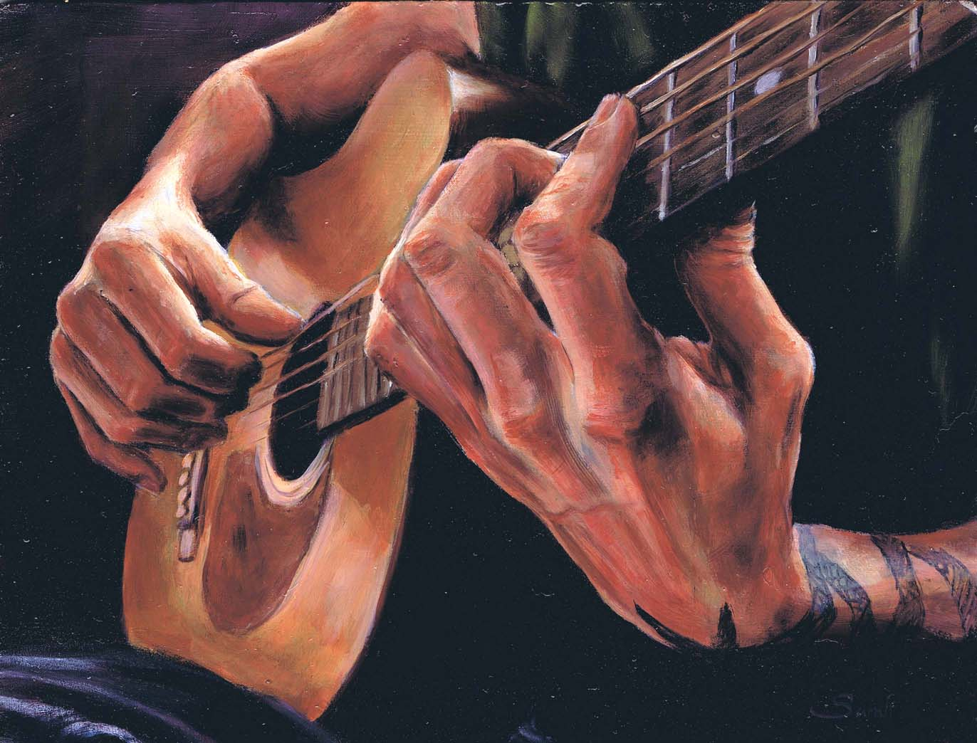 Drawn musician hand holding Painting Hands hands am drawn