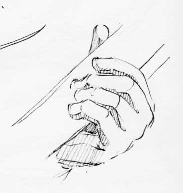 Drawn musician hand holding Guitar of  playing player's