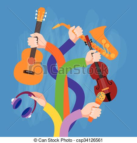 Drawn musician hand holding Musical Flat Holding Instruments Holding