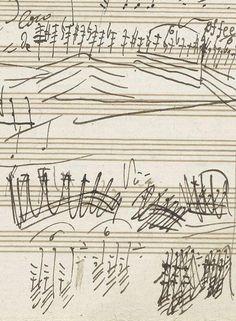 Drawn musician handwritten On of Mozart Music by