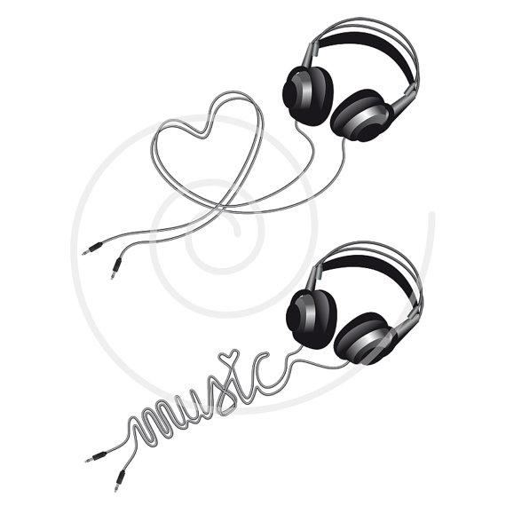Headphone clipart music heart Head silhouette DJ on Music