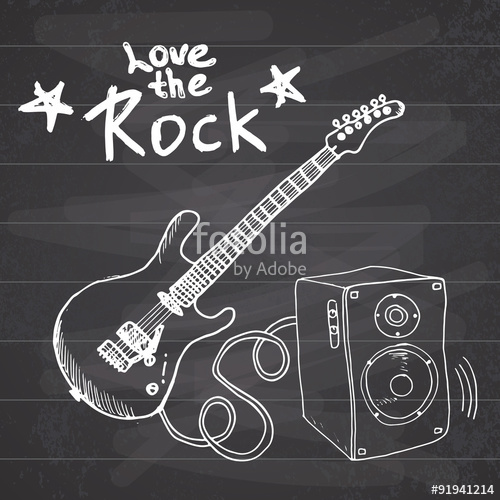 Drawn musician i love Vector Music Rock guitar text