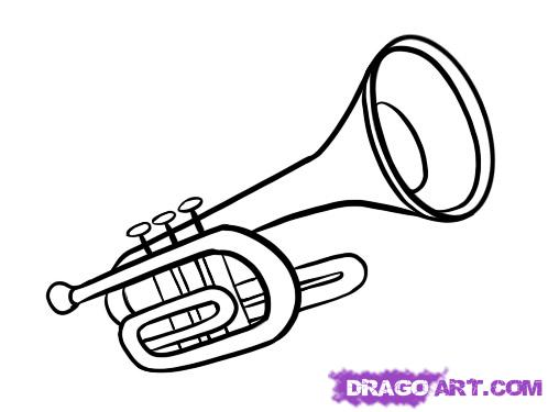Drawn musical line drawing Trumpet How to Instruments
