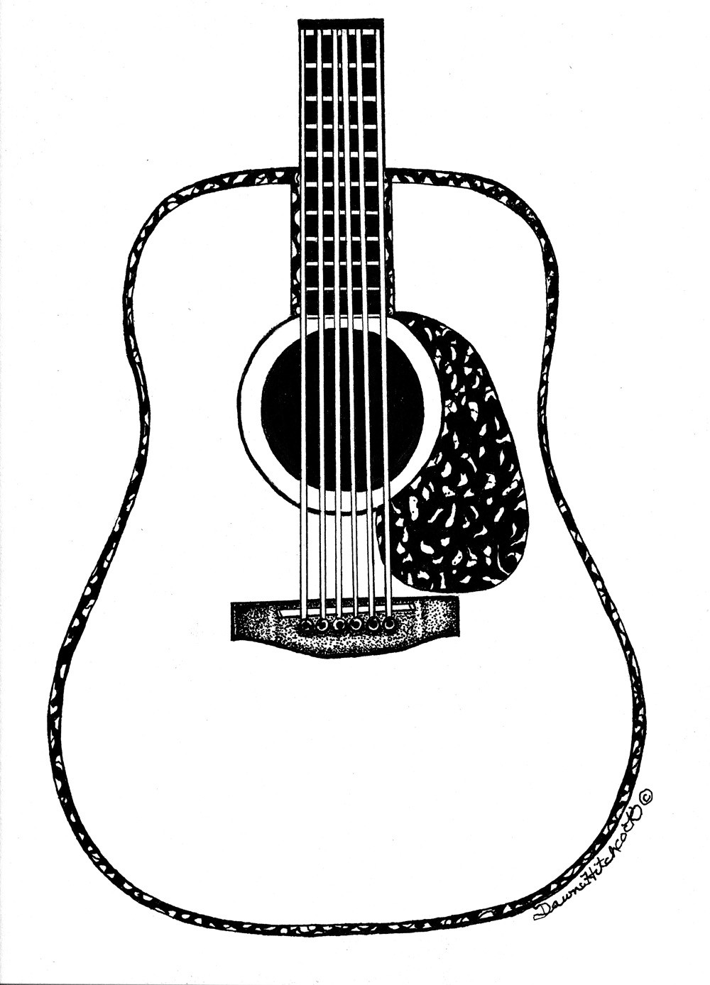 Drawn musician line drawing Drawing ClipArt Best Images Guitar