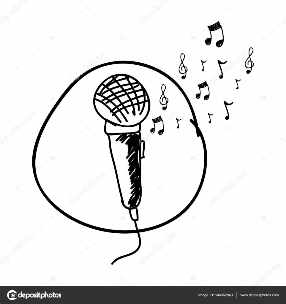 Drawn musician music mic Drawing of in microphone notes