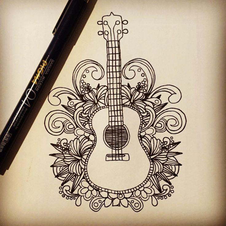 Drawn musician musical instrument #california Guitar #hawaii ideas ArtGuitar