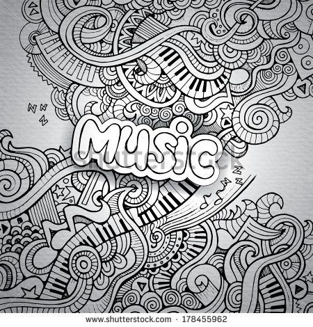 Drawn musician notebook On Hand Vector MUSIQUE images