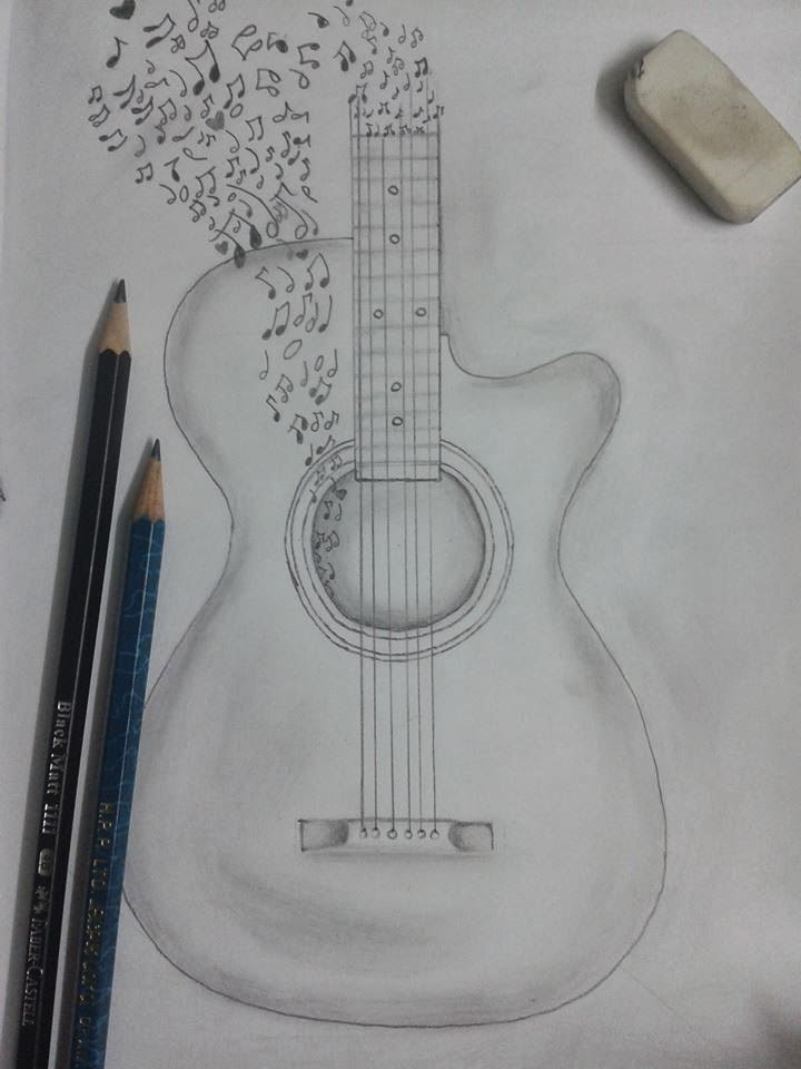 Drawn musician pencil drawing More this guitar Pin in