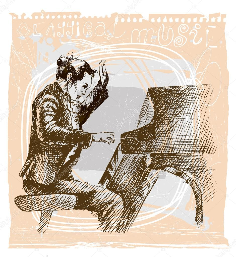 Drawn musician piano Stock playing © Musician drawn