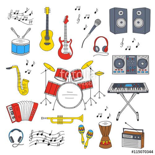 Drawn musician radio microphone Doodle doodle symbols hand drum