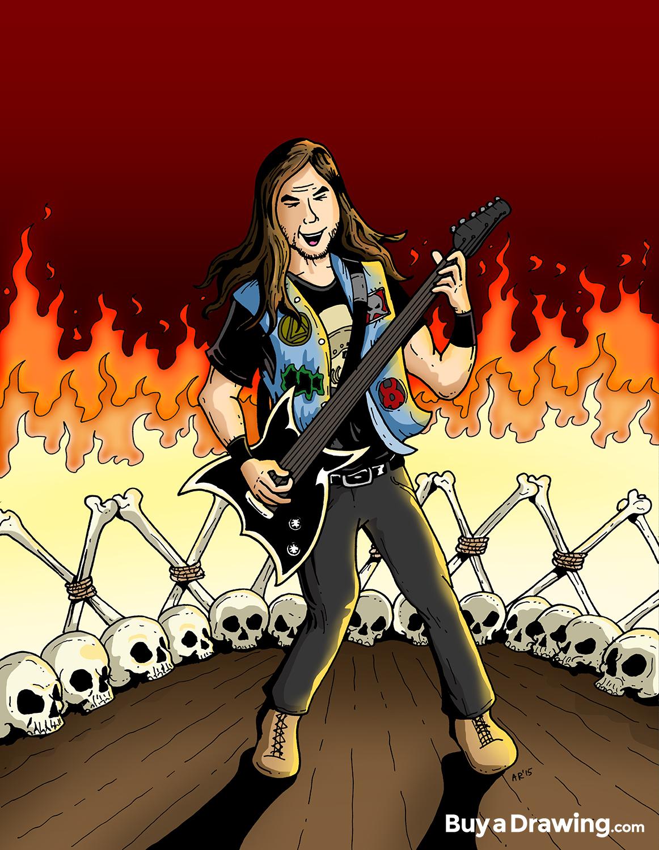 Drawn musician rock star Heavy a rock cartoon Order