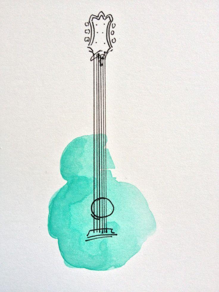 Drawn musician simple Teal blue Best pen ink