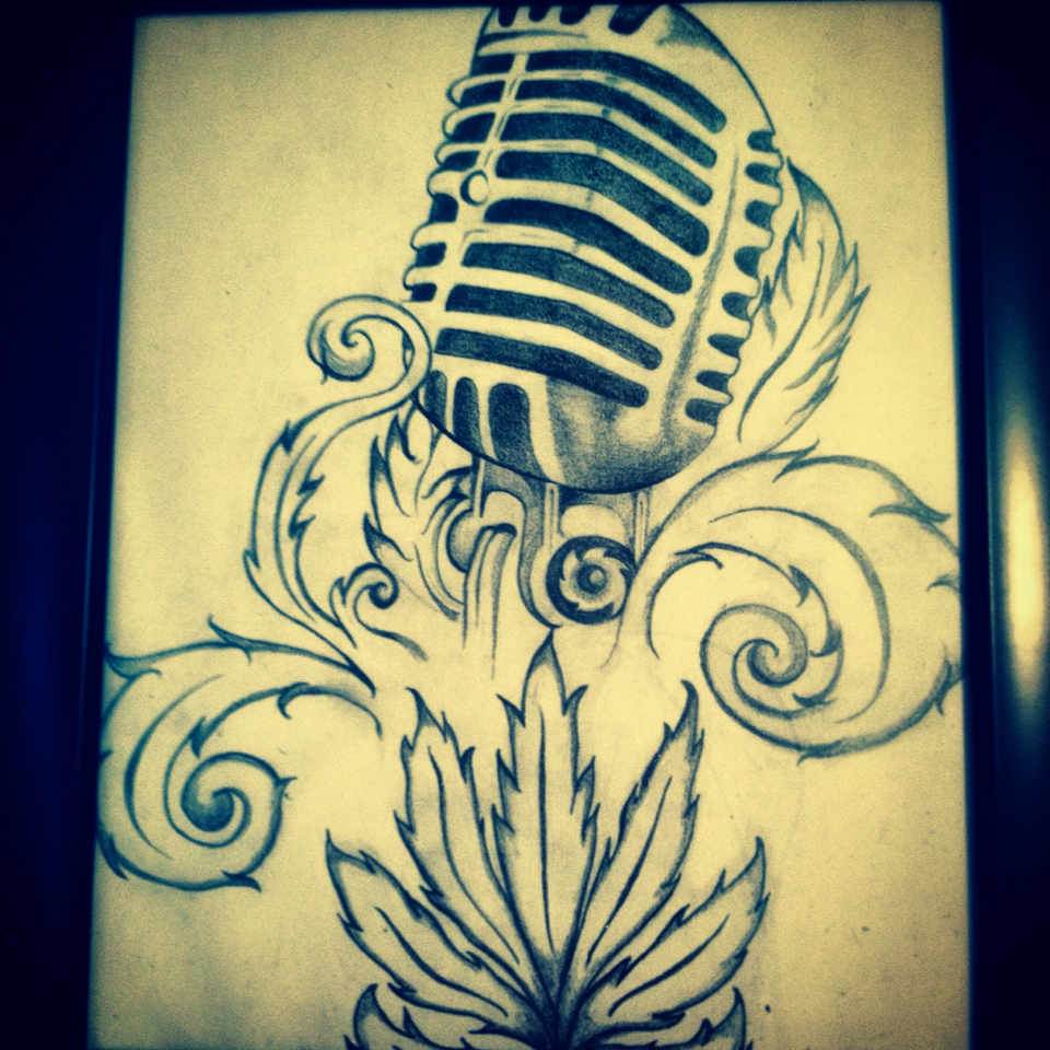Drawn musician studio microphone Old with Drawings studio pot