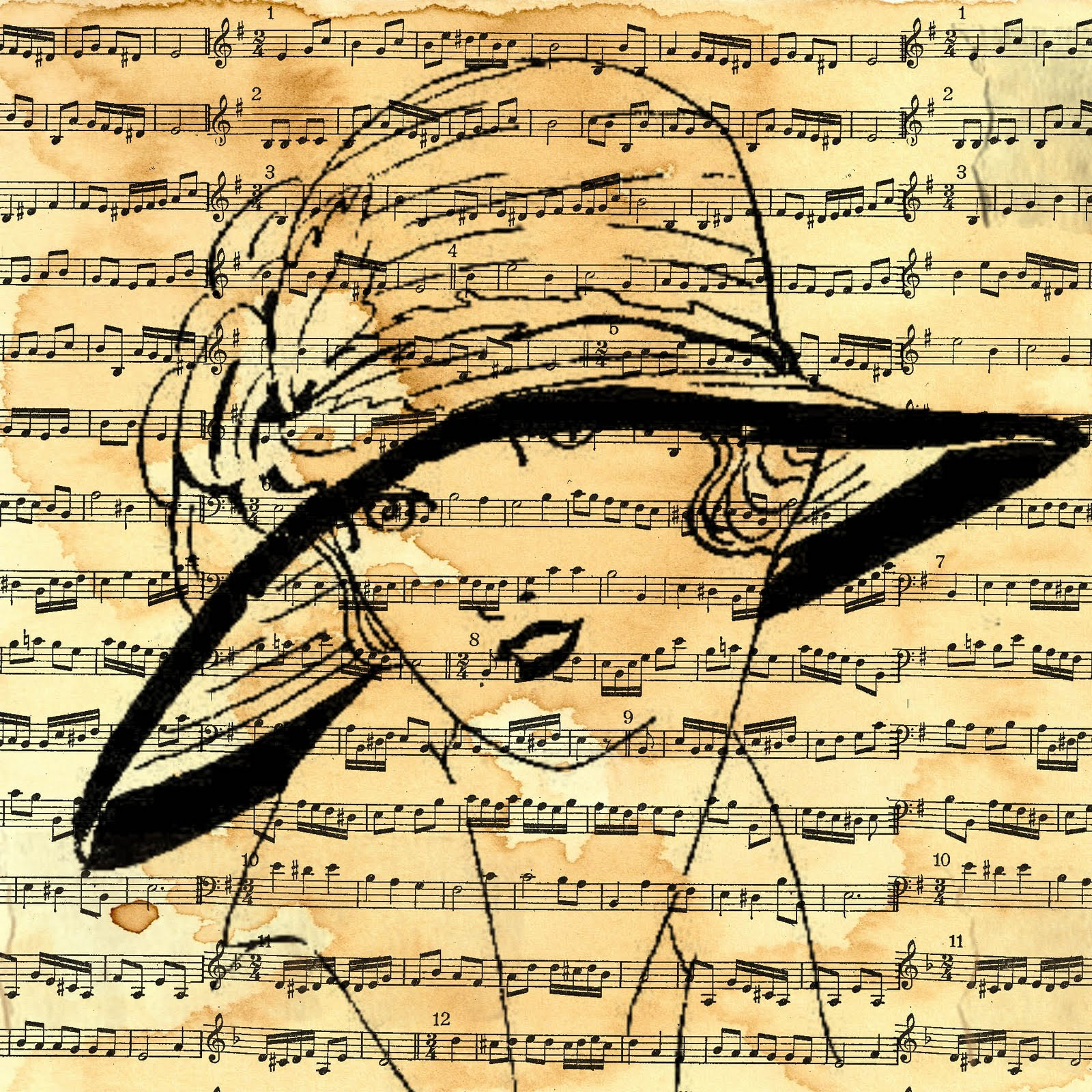 Drawn musician twitter backgrounds Art Becuo FREE Vintage Keywords