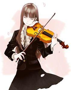 Drawn musician violin playing Uniform violin Female ART school