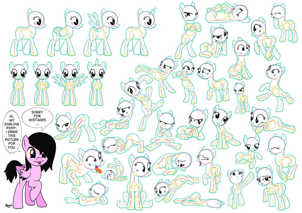 Drawn my little pony anatomy (poses) part ByPanda by My