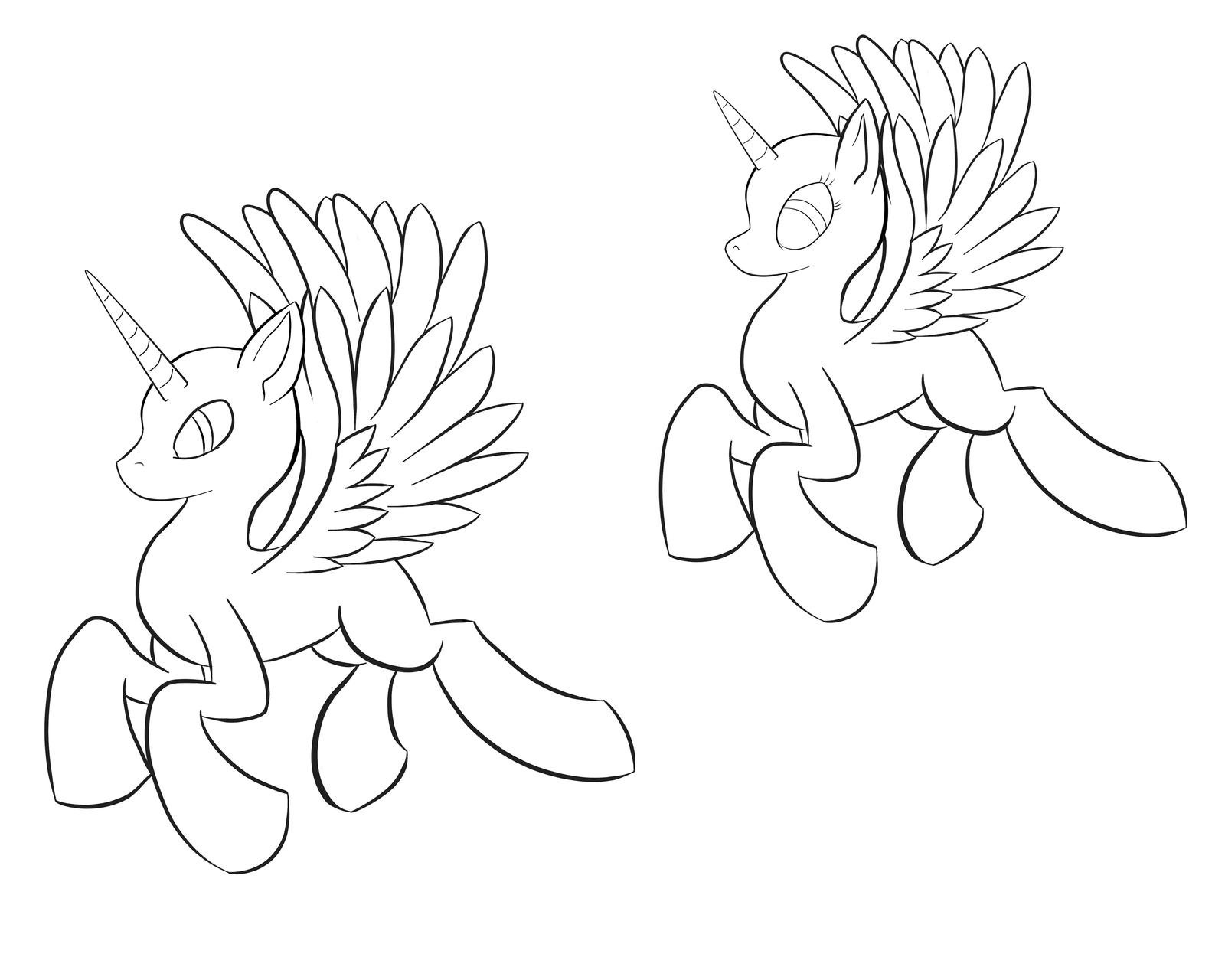 Drawn my little pony base male Alicorn  on AC whiteraven