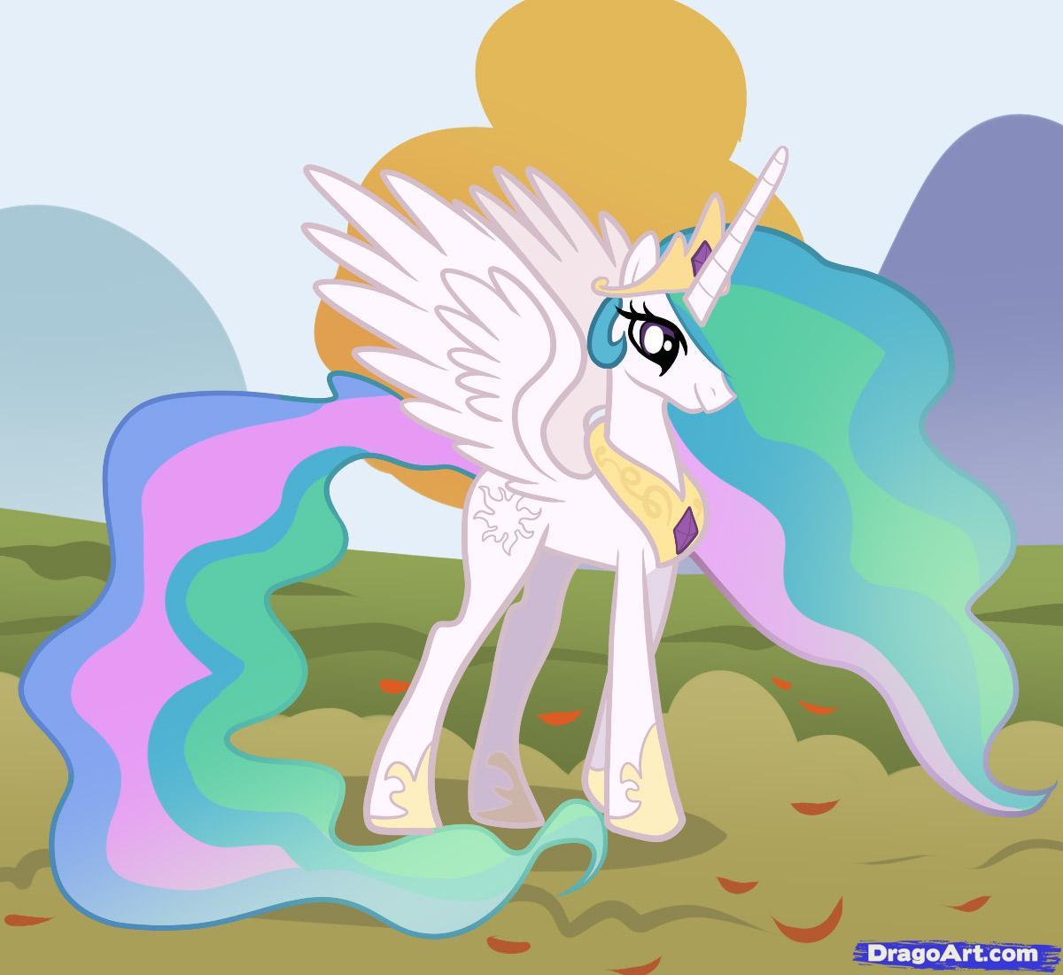 Drawn my little pony celestia To little Draw Step my