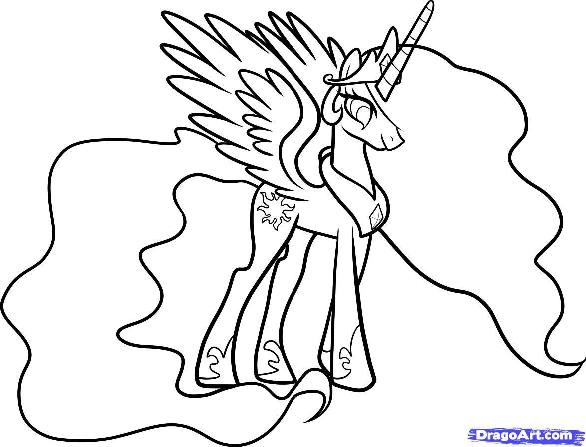 Drawn my little pony celestia 10 little Draw Step my