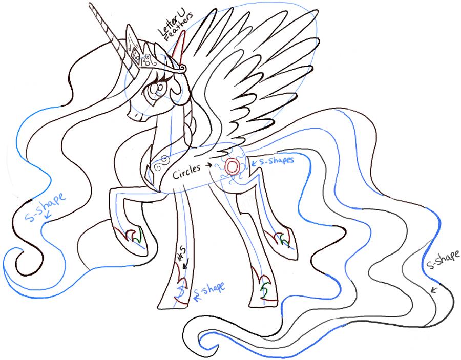 Drawn my little pony celestia To friendship Draw Pony pony