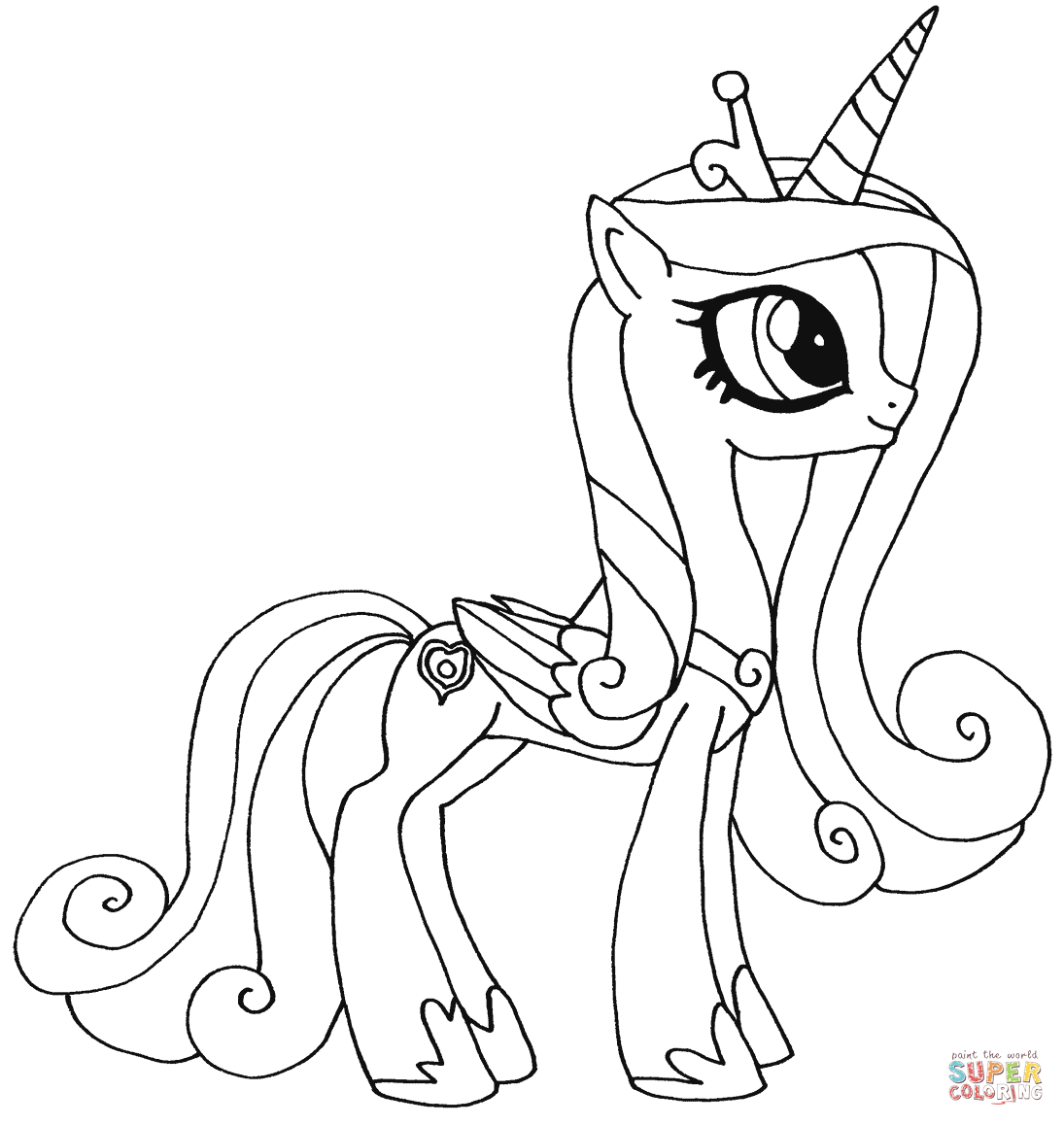 Drawn my little pony colouring picture Free Princess Pony Coloring Pages