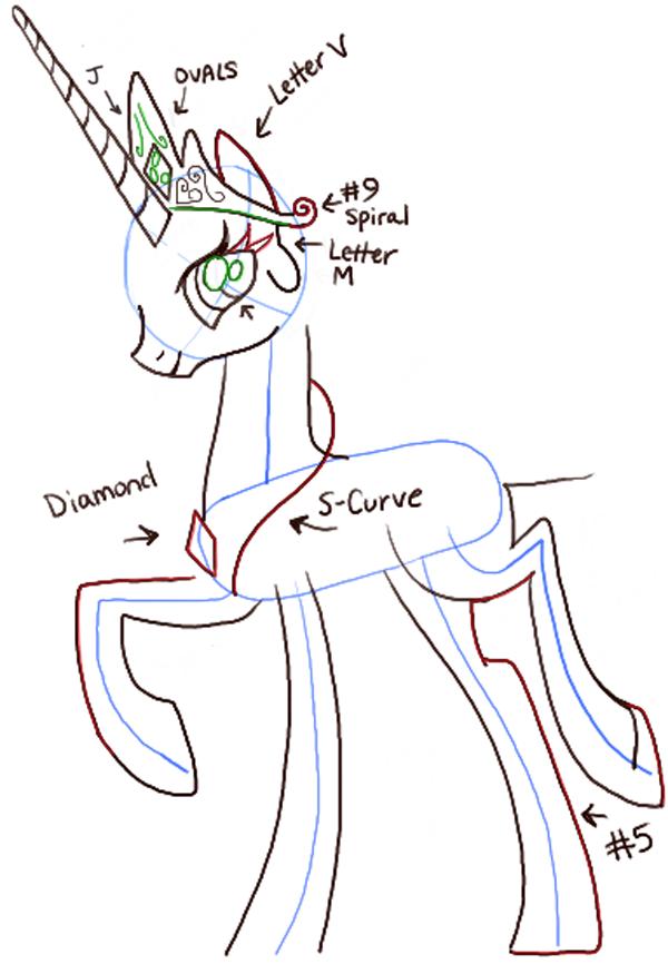Drawn my little pony different Magic Celestia CUTE  DRAW