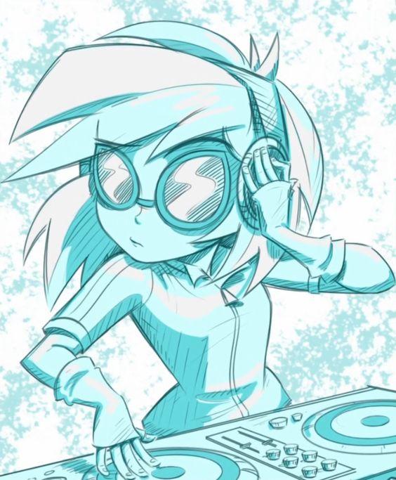 Drawn my little pony dj pon3 Girls Pin  more vinyl
