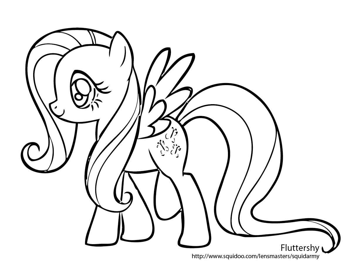 My Little Pony clipart colouring page On Fluttershy pictures coloring Little