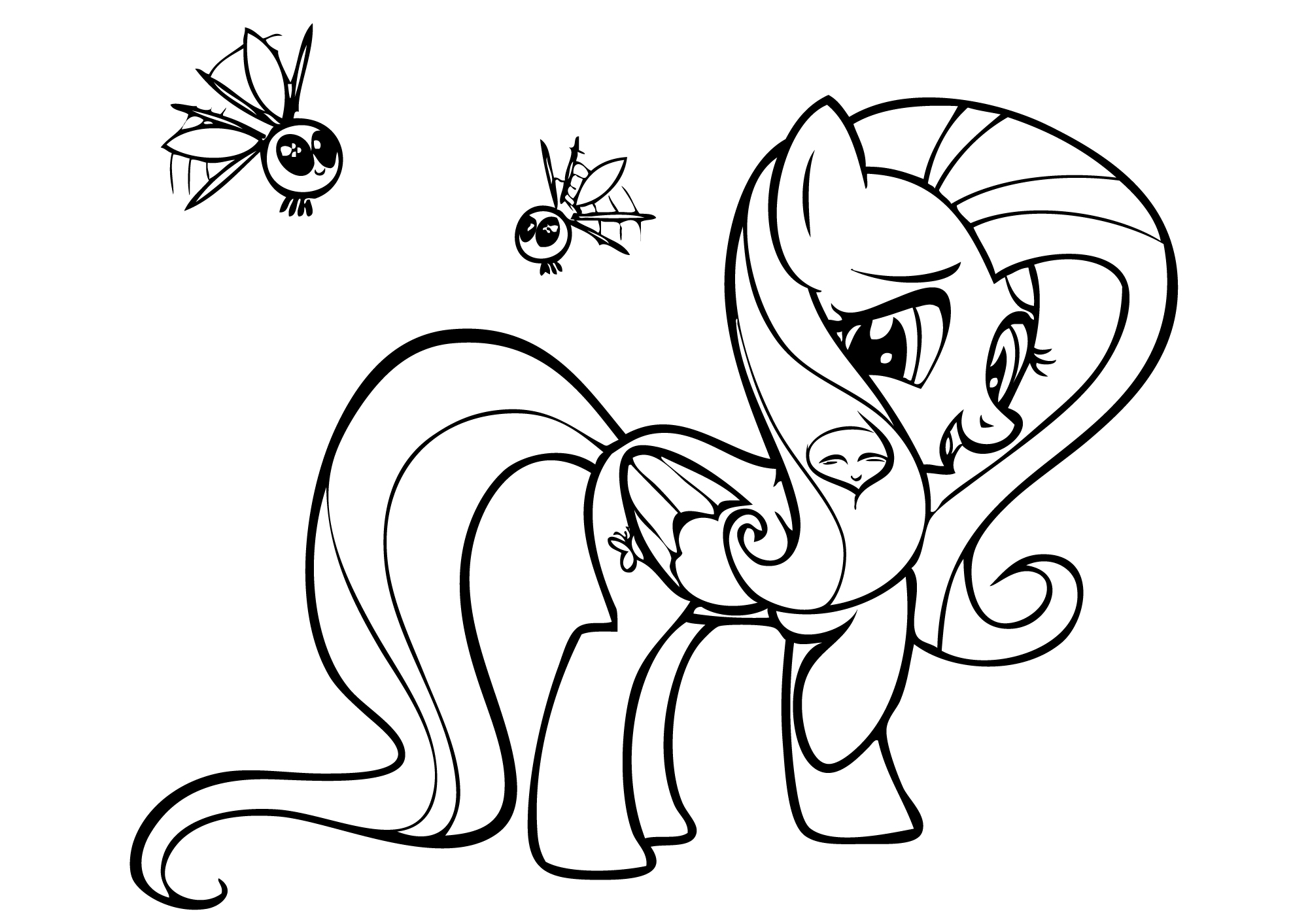 Drawn my little pony fluttershy coloring Coloring On Book Printable little