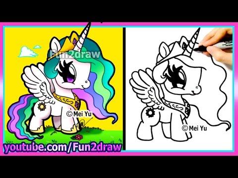 Drawn my little pony fun2draw Little Princess Easy Celestia Princess