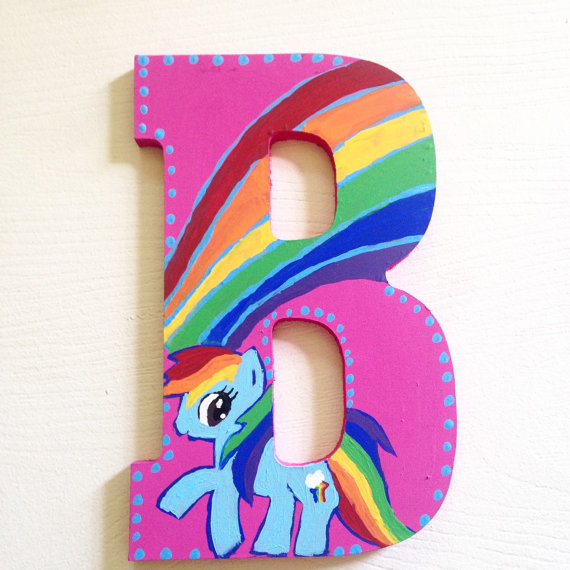 Drawn my little pony letter Stacked Etsy by Custom Little