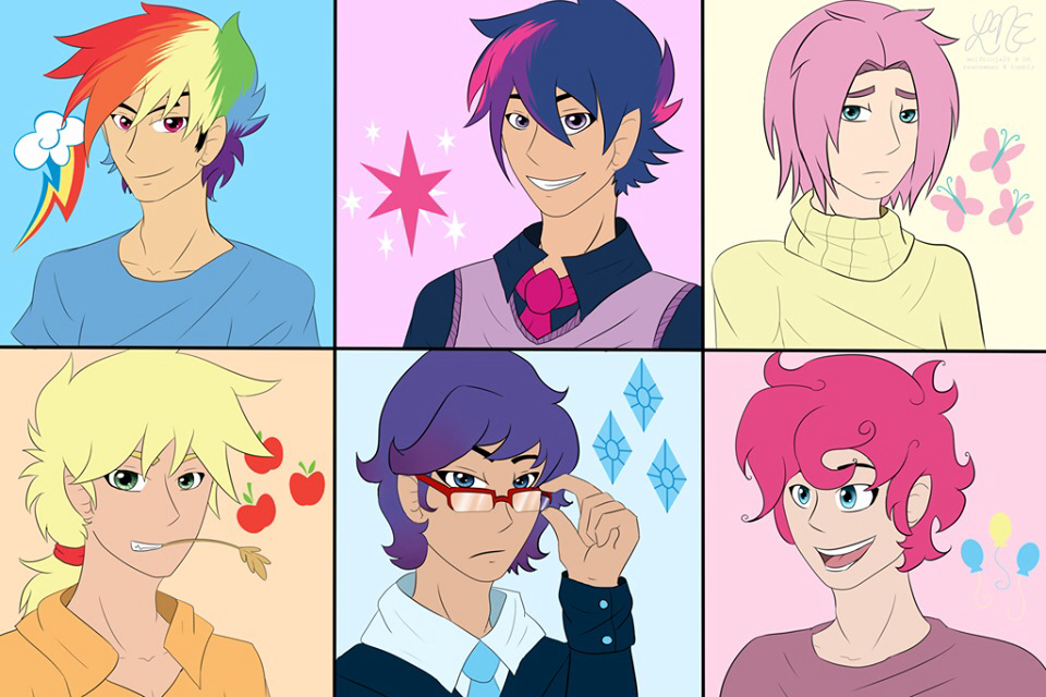 Drawn my little pony mane six human · male Genderbend  mane