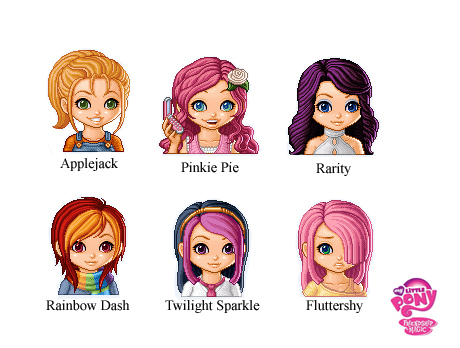Drawn my little pony mane six human Little by My Versions 6