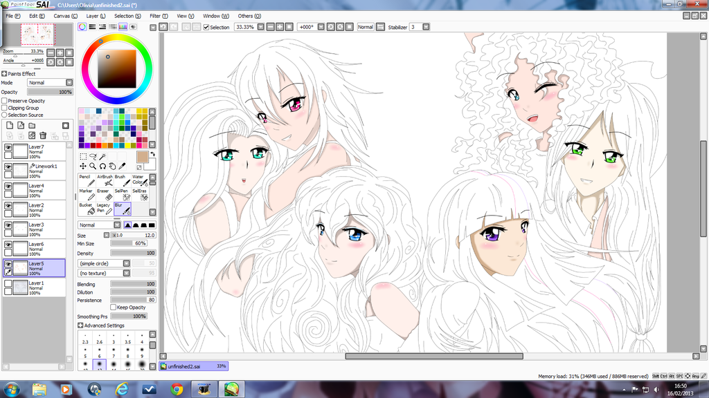 Drawn my little pony mane six human MLP: (UpdatedAgain) WIP Group 6