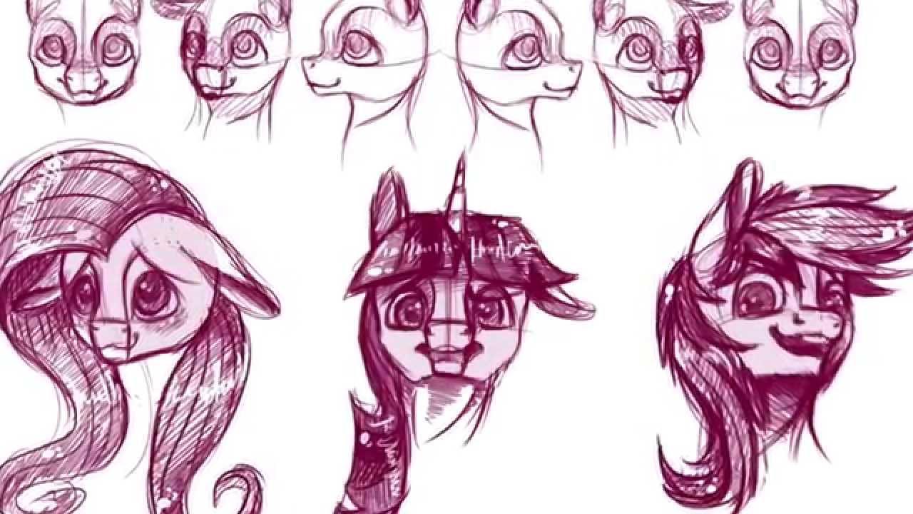 Drawn my little pony pony head TUTORIAL  Study Head Pony