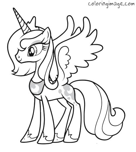 Drawn my little pony princess Page Luna) coloring Malesider little