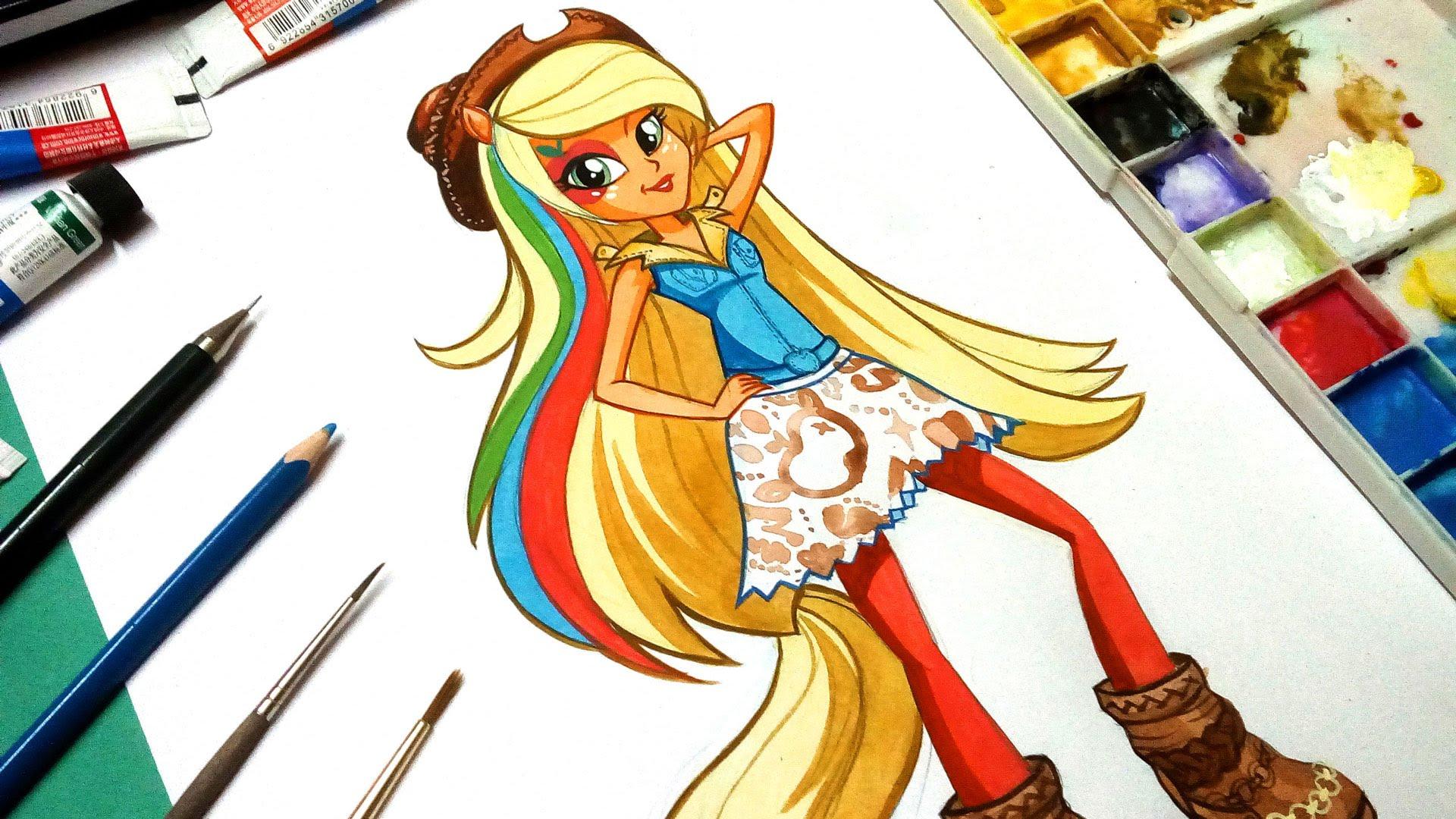 Drawn my little pony rainbow rock Draw pony paint how applejack