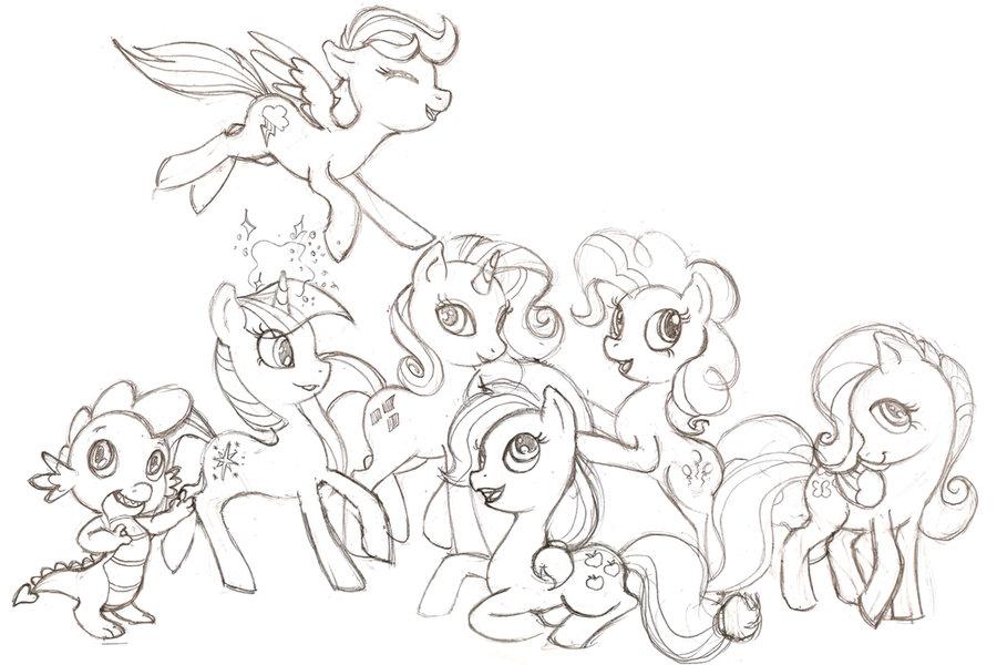 Drawn my little pony sketch Pony on Mane Sketch 6