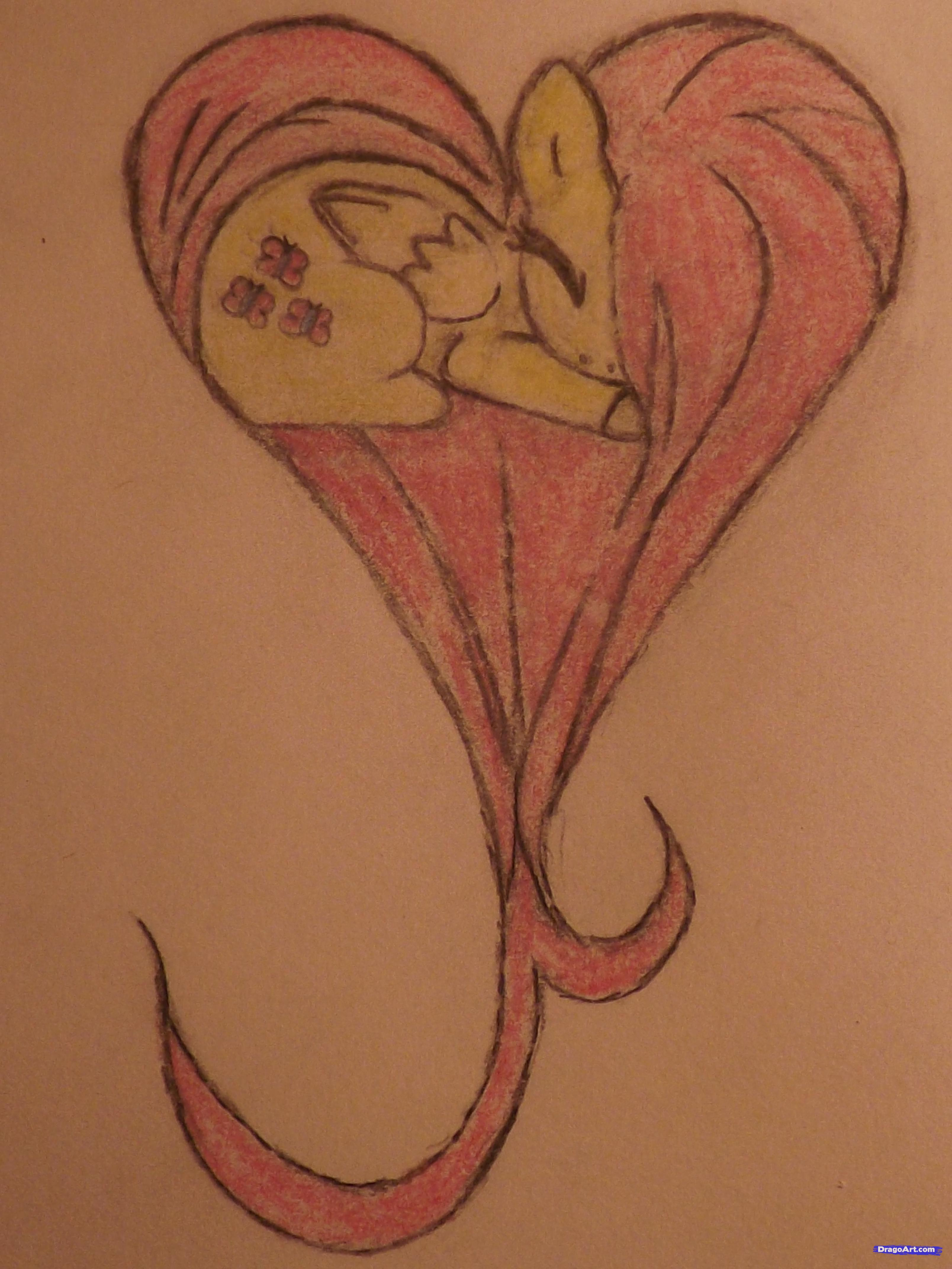 Drawn my little pony snooty How how draw heart fluttershy
