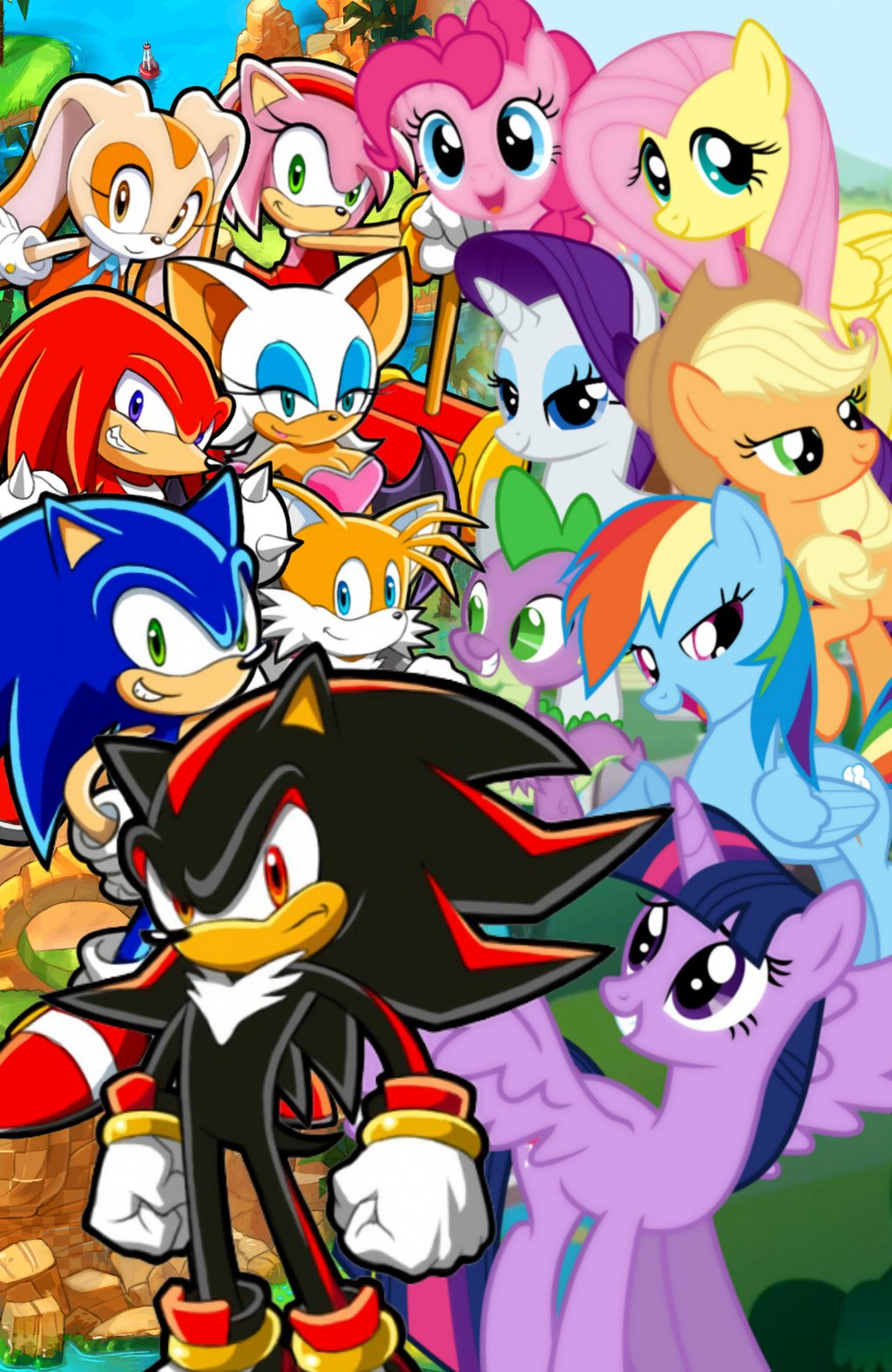 Drawn my little pony sonic amy Xovers by Little My Friendship