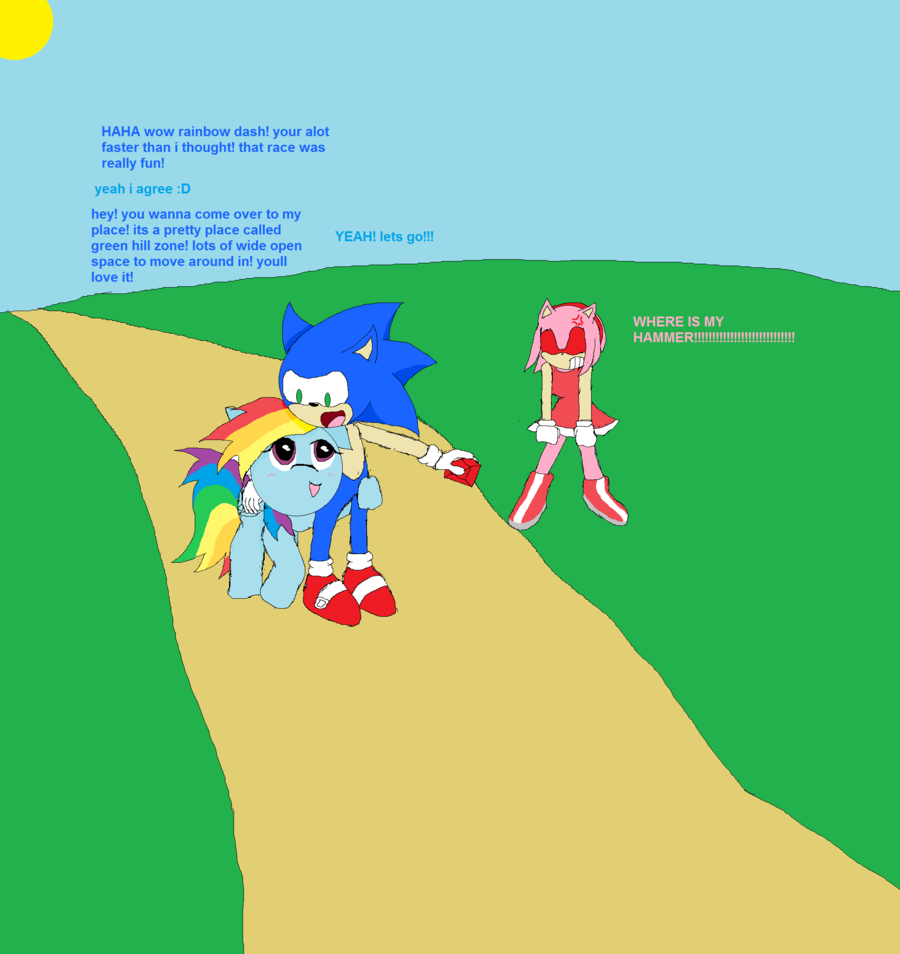 Drawn my little pony sonic amy Dash and rainbow by and