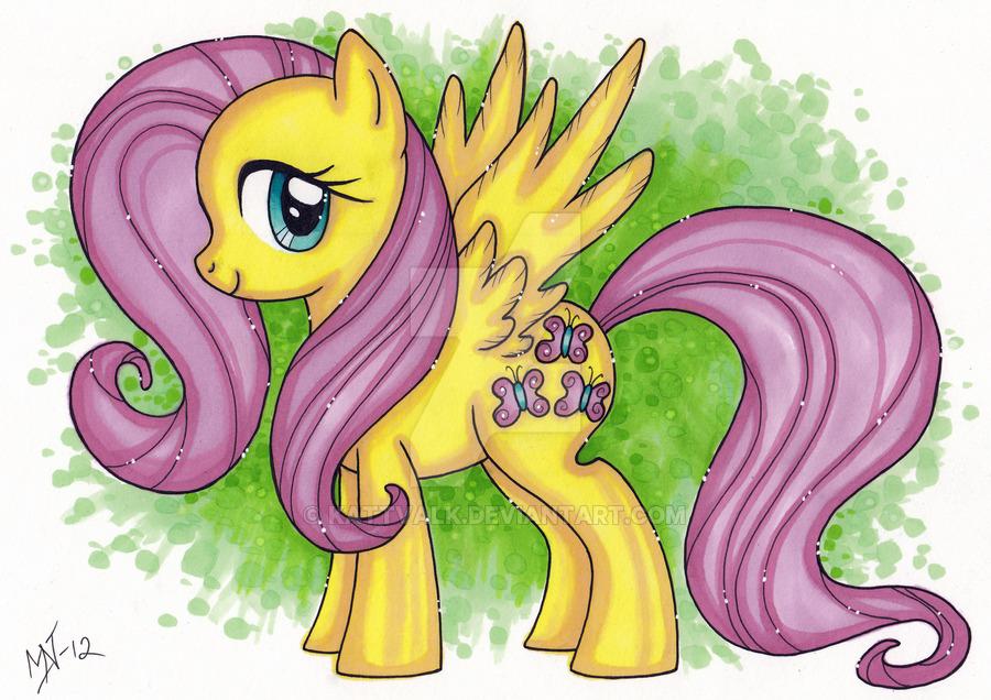 Drawn my little pony speed Kattvalk painting DeviantArt Fluttershy painting